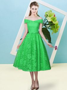 Empire Bridesmaids Dress Green Off The Shoulder Lace Cap Sleeves Tea Length Lace Up