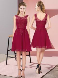 Superior Knee Length Wine Red Wedding Guest Dresses Chiffon Sleeveless Appliques