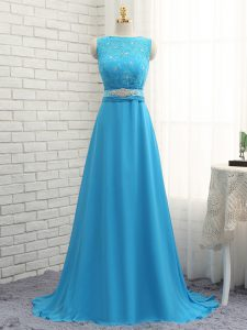 Beading and Lace Wedding Party Dress Baby Blue Zipper Sleeveless Brush Train