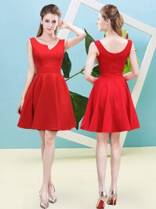 A-line Bridesmaid Gown Red Asymmetric Satin Sleeveless Mini Length Zipper