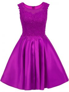 Lace Bridesmaid Gown Eggplant Purple Zipper Sleeveless Mini Length