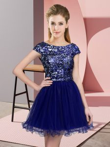 Exquisite Blue Bridesmaids Dress Prom and Party and Wedding Party with Sequins Scoop Cap Sleeves Zipper