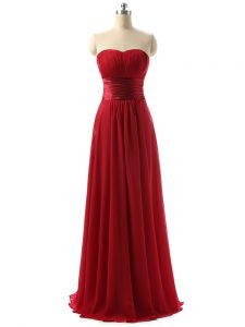 Luxury Sleeveless Floor Length Ruching Lace Up Bridesmaid Dresses with Wine Red