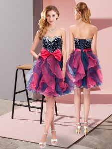 Luxury Multi-color Organza Lace Up Bridesmaid Dresses Sleeveless Mini Length Beading and Ruffles and Bowknot
