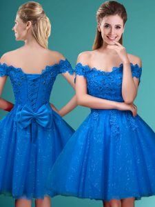 Fashionable Off The Shoulder Sleeveless Bridesmaids Dress Knee Length Lace and Belt Blue Tulle