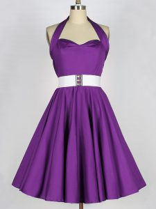 Suitable Eggplant Purple Sleeveless Taffeta Lace Up Bridesmaids Dress for Prom and Party and Wedding Party