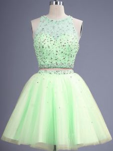 Best Selling Scoop Sleeveless Bridesmaid Gown Knee Length Beading Yellow Green Tulle