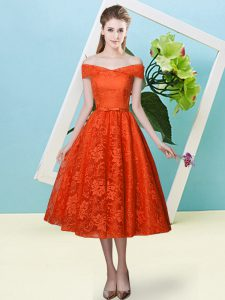 Bowknot Bridesmaid Gown Rust Red Lace Up Cap Sleeves Tea Length