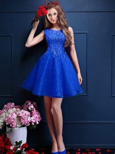Sleeveless Knee Length Beading and Lace Lace Up Wedding Party Dress with Royal Blue