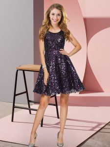 Luxurious Mini Length Black And Purple Wedding Guest Dresses Sequined Sleeveless Sequins