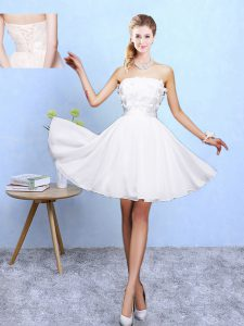Modern White Lace Up Off The Shoulder Appliques Bridesmaid Dresses Chiffon Sleeveless