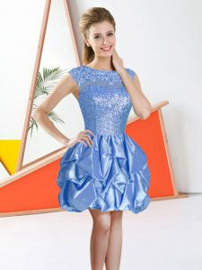 Dazzling Baby Blue Bateau Backless Beading and Lace and Ruffles Bridesmaid Dresses Sleeveless