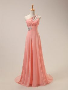 Extravagant Watermelon Red Chiffon Zipper One Shoulder Sleeveless Bridesmaid Gown Brush Train Beading