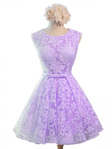 Exquisite Lavender Bridesmaid Gown Prom and Party and Wedding Party with Belt Scoop Sleeveless Lace Up