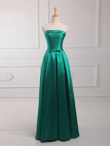 Sleeveless Floor Length Belt Lace Up Wedding Party Dress with Dark Green