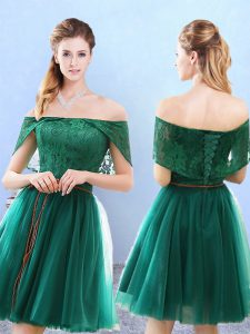 Off The Shoulder Cap Sleeves Lace Up Wedding Party Dress Olive Green Tulle