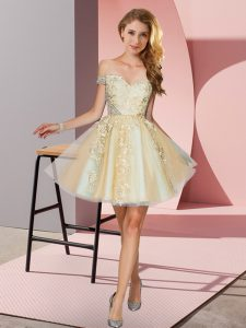 Stylish Champagne A-line Tulle Off The Shoulder Sleeveless Appliques Mini Length Zipper Bridesmaid Dresses