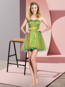 Multi-color Lace Up Sweetheart Beading and Sequins Wedding Party Dress Tulle Sleeveless