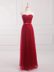 Sleeveless Floor Length Belt Lace Up Bridesmaid Gown with Wine Red