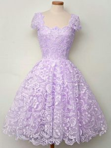 Great Cap Sleeves Knee Length Lace Lace Up Bridesmaid Gown with Lavender