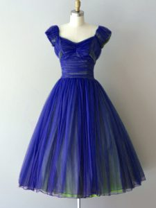 Knee Length Lace Up Bridesmaid Gown Royal Blue for Prom and Party and Wedding Party with Ruching