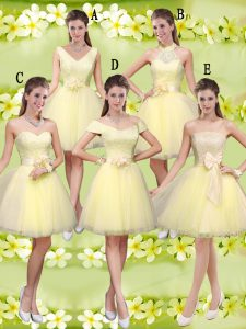 High Class Light Yellow Sleeveless Knee Length Lace and Belt Lace Up Bridesmaid Dresses
