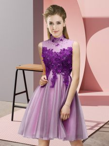 Fine Knee Length Lilac Bridesmaid Dresses High-neck Sleeveless Lace Up