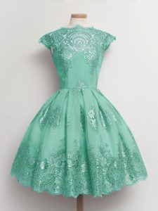 Spectacular Turquoise Tulle Lace Up Scalloped Cap Sleeves Knee Length Bridesmaid Gown Lace