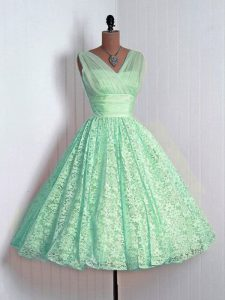Lace Bridesmaid Gown Apple Green Lace Up Sleeveless Mini Length