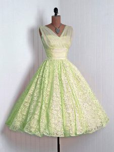 Dramatic Mini Length Lace Up Bridesmaid Dresses Yellow Green for Prom and Party and Wedding Party with Lace