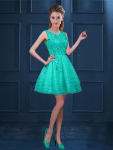 Clearance Turquoise Zipper Scoop Lace and Ruffled Layers Wedding Guest Dresses Tulle Sleeveless