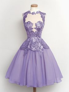 Dynamic Lilac Lace Up High-neck Lace Bridesmaid Gown Chiffon Sleeveless