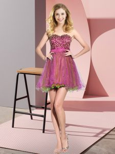 Mini Length Multi-color Wedding Guest Dresses Sweetheart Sleeveless Lace Up