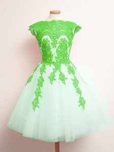 Sleeveless Appliques Lace Up Wedding Guest Dresses
