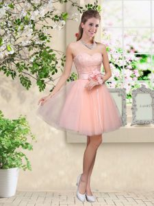 Colorful Peach Tulle Lace Up Sweetheart Sleeveless Knee Length Wedding Party Dress Lace and Belt