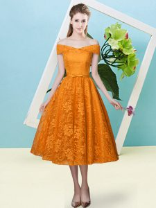 Superior Cap Sleeves Tea Length Bowknot Lace Up Wedding Party Dress with Orange Red
