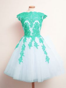 Scalloped Sleeveless Lace Up Bridesmaid Dress Multi-color Tulle