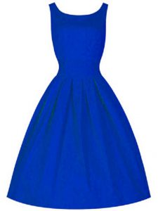 Trendy A-line Bridesmaid Dresses Royal Blue High-neck Taffeta Sleeveless Knee Length Lace Up