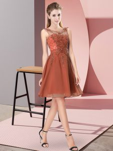 Rust Red Zipper Scoop Appliques Wedding Guest Dresses Chiffon Sleeveless