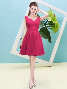 Hot Pink Bridesmaids Dress Prom and Party and Wedding Party with Ruching Asymmetric Sleeveless Zipper