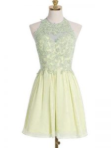 Light Yellow Chiffon Lace Up Bridesmaid Dresses Sleeveless Knee Length Appliques