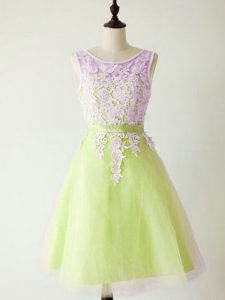 Wonderful A-line Bridesmaid Dress Yellow Green Scoop Tulle Sleeveless Knee Length Lace Up