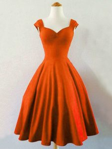 Knee Length Lace Up Wedding Party Dress Rust Red for Prom and Party and Wedding Party with Ruching