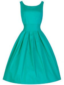 Comfortable Turquoise Bridesmaid Gown Prom and Party and Wedding Party with Ruching Scoop Sleeveless Lace Up