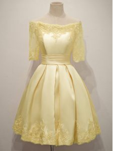Off The Shoulder Half Sleeves Wedding Party Dress Knee Length Lace Yellow Taffeta