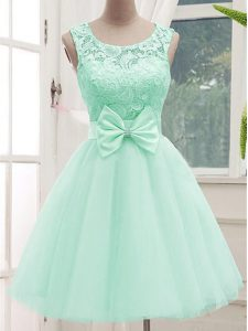 Tulle Scoop Sleeveless Lace Up Lace and Bowknot Bridesmaid Gown in Apple Green