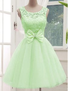 Lovely Yellow Green Bridesmaid Dresses Prom and Party and Wedding Party with Lace and Bowknot Scoop Sleeveless Lace Up