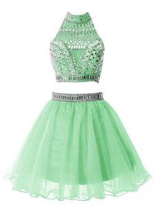 Best Selling Mini Length Two Pieces Sleeveless Apple Green Wedding Party Dress Zipper