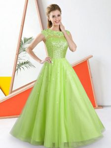 Yellow Green A-line Tulle Bateau Sleeveless Beading and Lace Floor Length Backless Wedding Guest Dresses