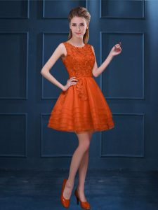 Sweet Orange Red Bridesmaids Dress Prom and Party with Lace and Ruffled Layers Scoop Sleeveless Zipper